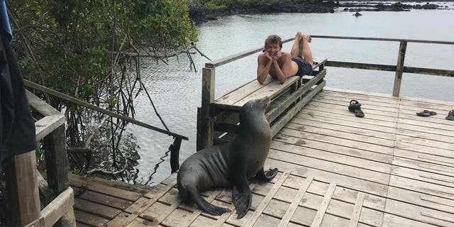 Spending his days exploring the tropical paradise and befriending wildlife like iguanas, sea lions, green turtles and penguins, the 29-year-old said he's savoring each moment of the enviable experience.