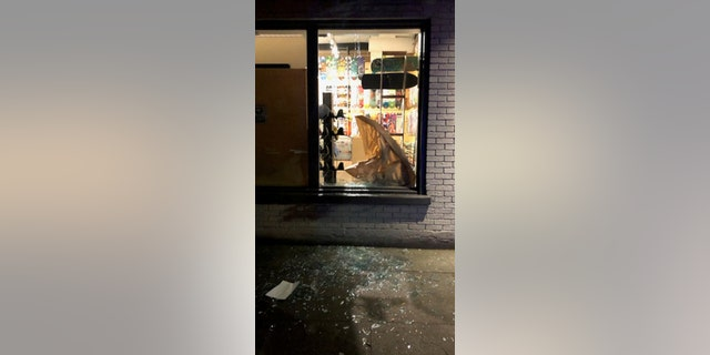 A business was burglarized during overnight protests in Portland.