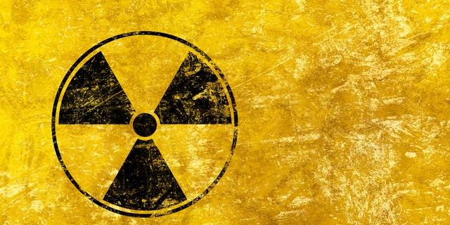 Black radioactive hazard warning sign.