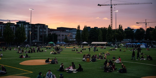 """People sit in Cal Anderson Park in the so-called """"Capitol Hill Autonomous Zone"""" on June 10, 2020 in Seattle, Wash. (Photo by David Ryder/Getty Images)"""