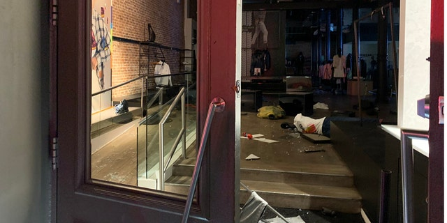 Damage to store in New York City's SoHo neighborhood after looting in the early hours of Monday, June 1, 2020.