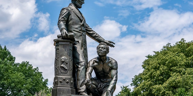 The Emancipation Memorial in Washington's Lincoln Park, depicting a freed slave kneeling at the feet of President Abraham Lincoln, is seen June 25, 2020. (Associated Press)