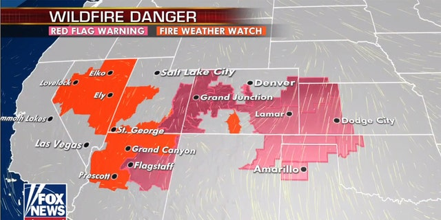 Red flag warnings and fire weather watches are in effect for the Southwest into the Plains.