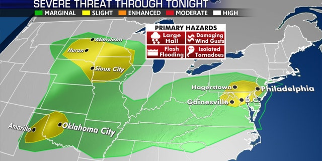 The threat for severe weather on Thursday, including areas that were hit by a derecho in Pennsylvania.