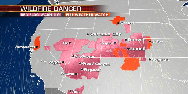 The fire threat continues across the Southwest and into the Plains on Tuesday.