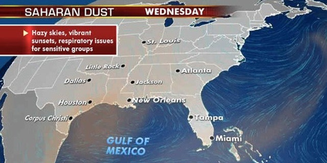 Another round of Saharan dust will move to the Gulf coast starting Tuesday.
