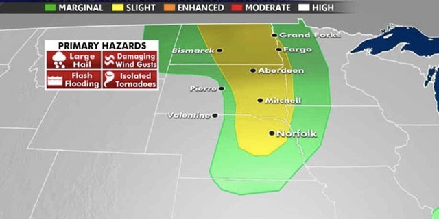 The risk for severe storms exists across the Northern Plains on Tuesday.