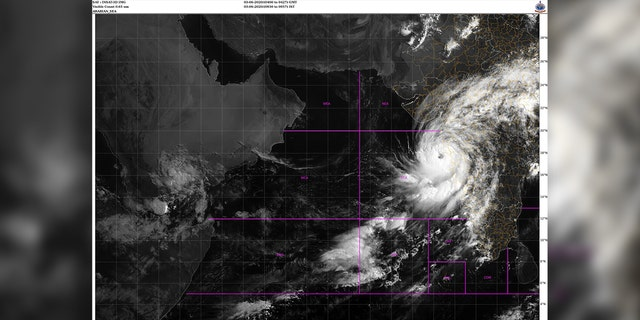 Cyclone Nisarga can be seen developing an eye as it strengthen before making landfall Wednesday on India's western coast.