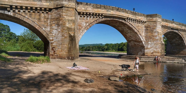 A family play in the shallows on the banks of the river Tyne, that has very low water levels, at Corbridge, England, June 1.