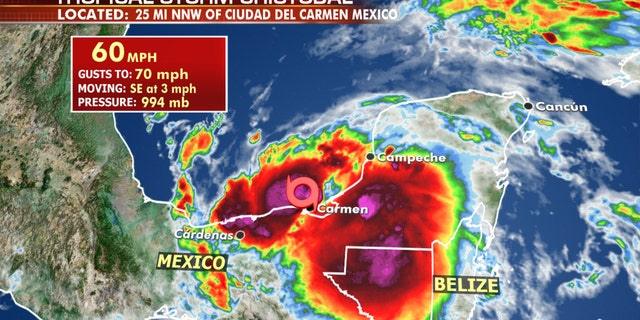 The location of Tropical Storm Cristobal on Wednesday morning.