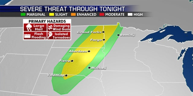 Strong to severe thunderstorms will move into the Dakotas and Minnesota on Wednesday.
