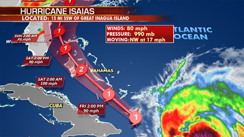 Hurricane Isaias' impact may be felt in Florida tonight as storm charts path for US east coast
