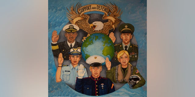 Mural in American Legion Post 35 highlighting the diversity of the US military operation.