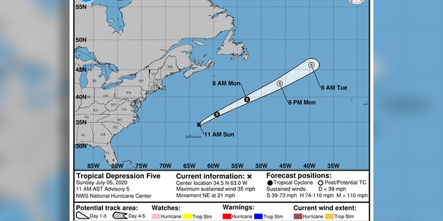 Tropical Depression Five may become a tropical storm at some point on Sunday.