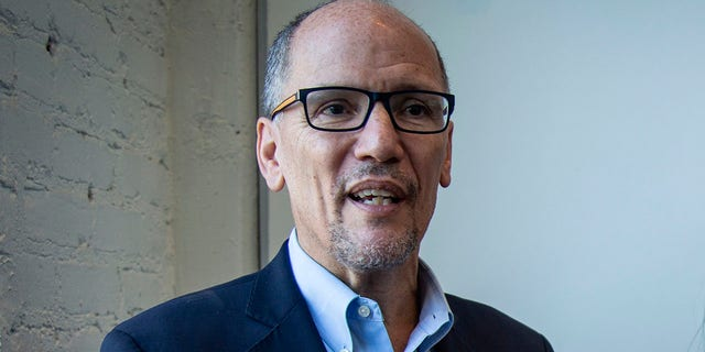 FILE-In this Wednesday, Nov. 20, 2019 file photo, Tom Perez, left, chair of the Democratic National Committee, and Nikema Williams, chair of the Georgia Democratic Party, speak with reporters, in Atlanta. (AP Photo/Ron Harris, File)