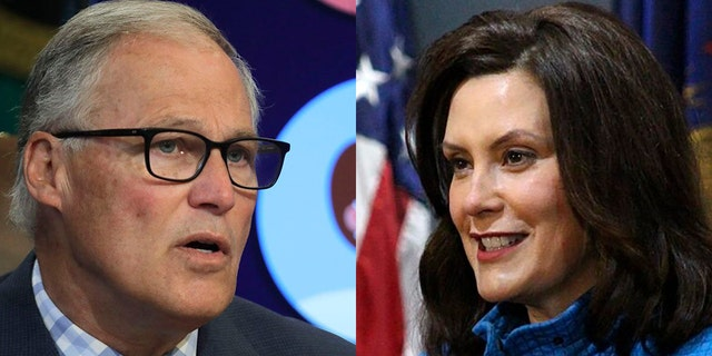 Governors Jay Inslee, left, of Washington and Gretchen Whitmer of Michigan, both Democrats, asserted Thursday that they -- not President Trump -- will determine when their states' schools will reopen.