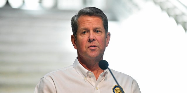 Georgia Gov. Brian Kemp speaks to members of the media during his weekly press conference regarding the coronavirus pandemic from the Georgia State Capitol on May 07, 2020, in Atlanta, Georgia. (Photo by Austin McAfee/Icon Sportswire via Getty Images)