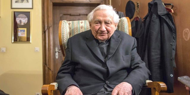 Georg Ratzinger, brother of Pope Benedict XVI , sits in his house in Regensburg, southern Germany, Monday Feb. 11, 2013.  (AP Photo/dpa, Armin Weigel)