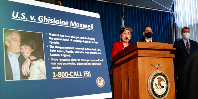 Audrey Strauss, acting U.S. Attorney for the Southern District of New York, speaks alongside William F. Sweeney Jr., assistant director-in-charge of the New York Office of the FBI, and New York City Police Commissioner Dermot Shea, right, during a news conference to announce charges against Ghislaine Maxwell for her alleged role in the sexual exploitation and abuse of multiple minor girls by Jeffrey Epstein, Thursday, July 2, 2020, in New York. (AP Photo/John Minchillo)