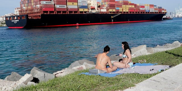 Women sunbathe on a strip of grass along Government Cut as a container ship passes by during the new coronavirus pandemic, Friday in Miami Beach, Fla. Beaches throughout South Florida are closed for the busy Fourth of July weekend to avoid further spread of the new coronavirus. (AP Photo/Lynne Sladky)