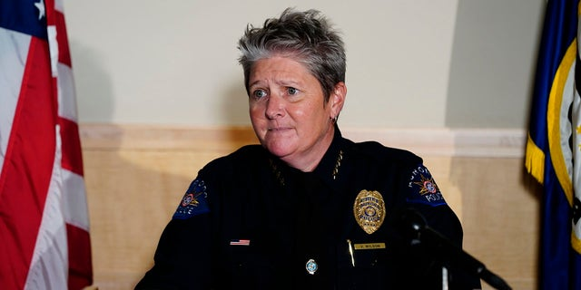 Aurora Police Department Interim Chief Vanessa Wilson addresses reporters July 3, 2020, in Aurora, Colo. (Associated Press)