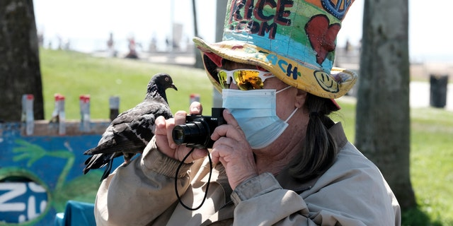 Métis - Vendor Vivianne Robinson, wearing a mask to protect from the coronavirus, takes a photo with a pigeon perched on her hand along the Venice Beach strand, Friday, July 3, 2020, in Los Angeles. (AP Photo/Richard Vogel)