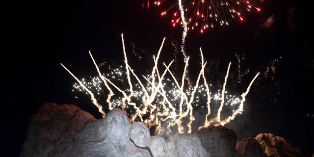 Fireworks light the sky at Mount Rushmore National Memorial, Friday, July 3, 2020, near Keystone, S.D., after President Donald Trump spoke.