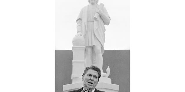 Former President Ronald Reagan addresses a ceremony in Baltimore, to unveil a statue of Christopher Columbus, Oct. 9, 1984. (Associated Press)
