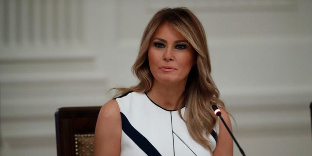 First lady Melania Trump is seen in the East Room of the White House, July 7, 2020, in Washington. (Associated Press)