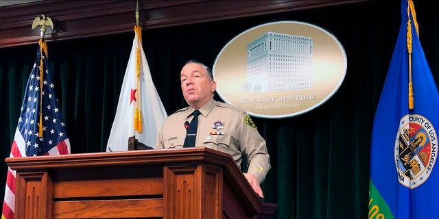 Los Angeles County Sheriff Alex Villanueva speaks to reporters in Los Angeles, about Andres Guardado. Guardado, 18, was shot in the back five times and killed last month by a sheriff's deputy. (AP Photo/Stephanie Dazio)