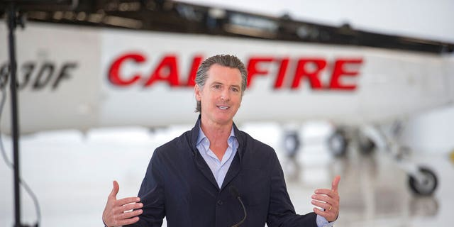 California Gov. Gavin Newsom visits the California Department of Forestry and Fire Protection's McClellan Reload Base in Sacramento, Calif.