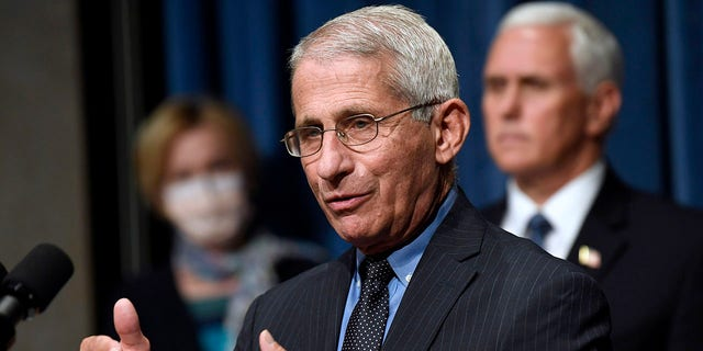 NIAID Director Dr. Anthony Fauci, center, speaks as Vice President Mike Pence, right, and Dr. Deborah Birx, White House coronavirus response coordinator, left, listen during a news conference. (AP Photo/Susan Walsh, File)