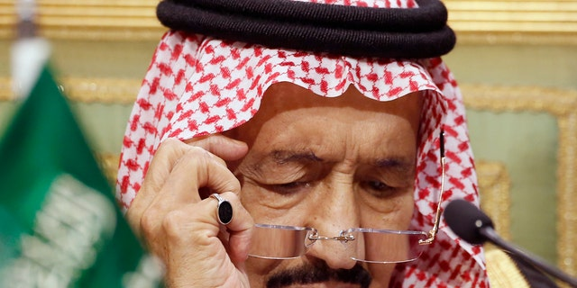 In this Dec. 10, 2019, file photo, Saudi King Salman chairs the 40th Gulf Cooperation Council Summit in Riyadh, Saudi Arabia. Saudi Arabia's King Salman has been admitted to a hospital in the capital, Riyadh, for medical tests due to inflammation of the gallbladder, the kingdom's Royal Court said Monday, July 20, 2020, in a statement carried by the official Saudi Press Agency. (AP Photo/Amr Nabil, File)
