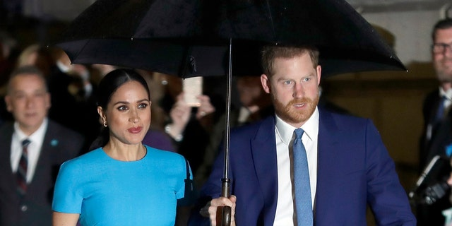 Prince Harry and Meghan, the Duke and Duchess of Sussex arrive at the annual Endeavour Fund Awards in London on March 5, 2020