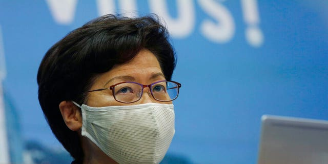 Hong Kong Chief Executive Carrie Lam speaks during a press conference in Hong Kong, July 31. She announced to postpone legislative elections scheduled for Sept. 6, citing a worsening coronavirus outbreak. (AP Photo/Kin Cheung)
