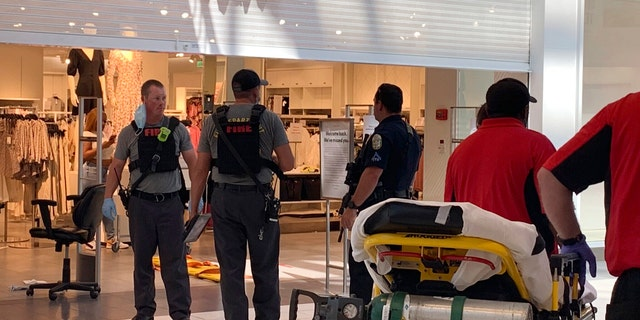 Police investigate a shooting at the Riverchase Galleria shopping mall on Friday in Hoover, Ala. (AP/The Birmingham News)
