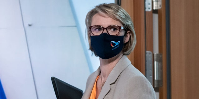Anja Karliczek, federal minister of education and research, arrives at a press conference for an informal meeting of EU research ministers. (Photo by Bernd von Jutrczenka/picture alliance via Getty Images)