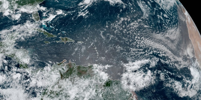Tropical Depression Five moves away from Bermuda in this satellite image on July 5, 2020.