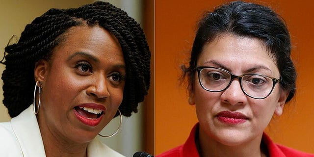 "Reps. Ayanna Pressley of Massachusetts, left, and <a data-cke-saved-href=""https://www.foxnews.com/category/person/rashida-tlaib"" href=""https://www.foxnews.com/category/person/rashida-tlaib"">Rashida Tlaib</a> of Michigan, right, unveiled a bill Tuesday that would slash funds for police departments and establish a reparations program for African-Americans and those harmed by the police and criminal justice system."