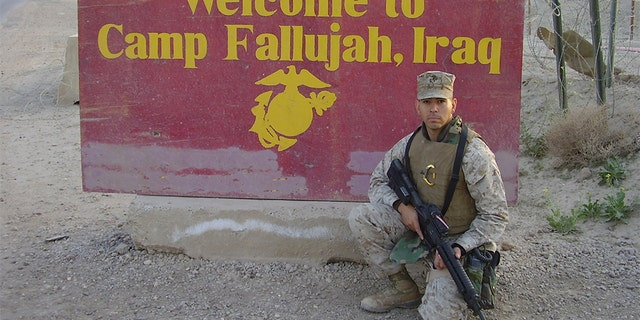 The Marine who served in the Iraq War as a machine-gunner and fire-team leader in Fallujah calls Exit12 military veteran art. (Courtesy of Román F. Baca II)