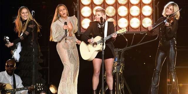 Beyonce and the band formerly known as 'The Dixie Chicks' perform at the 50th Annual CMA Awards on Nov. 2, 2016, at Bridgestone Arena in Nashville, Tenn. (Image Group LA/Walt Disney Television via Getty Images)