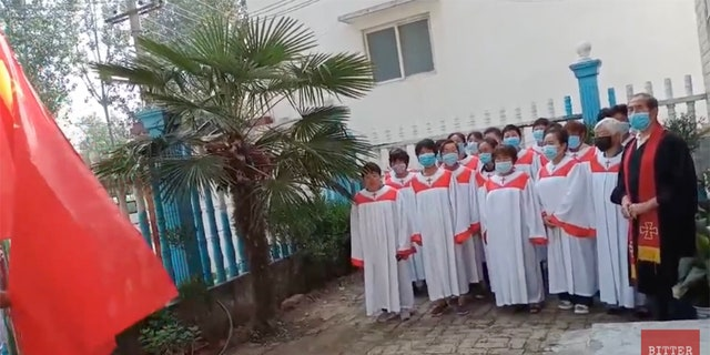 A reopening ceremony at the Gangxi Christian Church in the Shunhe district on June 14, 2020.
