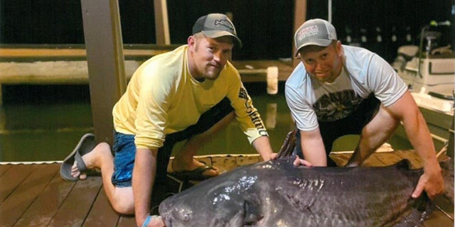 Joey Baird (pictured right) and friend Mark Conroy (pictured left) with Baird's 121-pound, 9-ounce blue catfish.