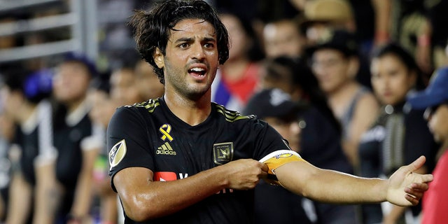 Major League Soccer MVP Carlos Vela will not accompany Los Angeles FC to the league's return tournament in Orlando this month. Vela announced his decision Monday, July 6, 2020, citing his concern for the health of his family, including his pregnant wife.(AP Photo/Marcio Jose Sanchez, File)