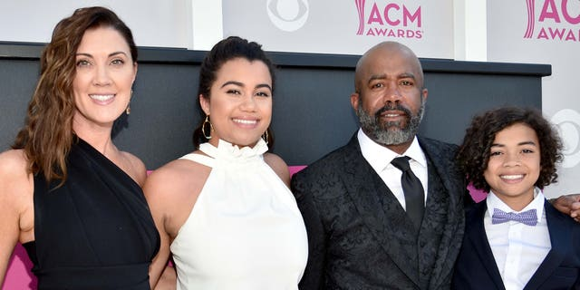 Left to right: Beth Leonard, Daniella Rose Rucker, recording artist Darius Rucker and Jack Rucker. (Photo by Kevin Mazur/ACMA2017/Getty Images for ACM)