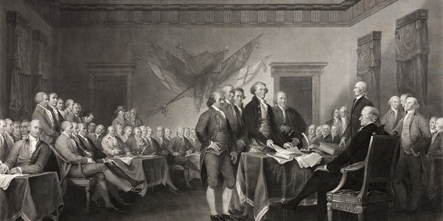 This vintage image features the Signing of the Declaration of Independence.