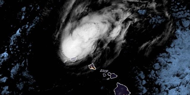 Hurricane Douglas as seen on satellite imagery on Monday, July 27, 2020.