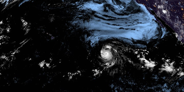 Hurricane Douglas can be seen swirling over the Pacific on Thursday, July 23, 2020.