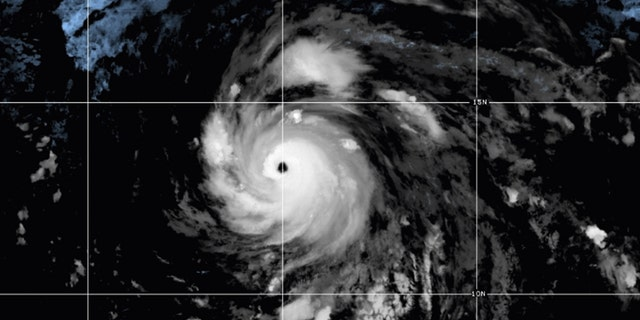 Hurricane Douglas can be seen as a major Category 3 storm.