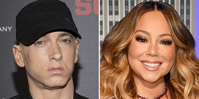 """Rapper Eminem, left, is reportedly """"stressed out"""" about Mariah Carey's upcoming memoir."""